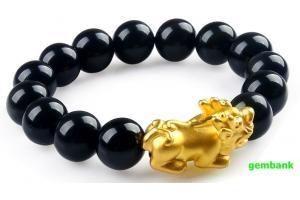 Lắc Opal Đen Tỳ Hưu Bạc Mạ Vàng 24K
