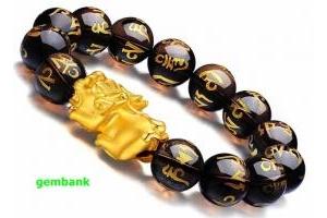 Lắc Thạch Anh Khói Tỳ Hưu Bạc Mạ Vàng 24K
