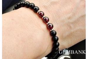 Vòng Tay Đá Ngọc Thạch Lựu Garnet Onyx Tự Nhiên