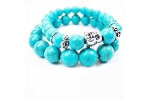 Combo 2 Lắc Tay Turquoise Charm Phật