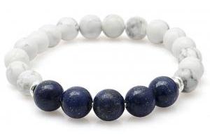 Lắc Đá Howlite Mix Lapid Lazuli Giúp Giảm Stress Và Căng Thẳng