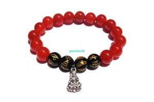 Lắc Mạng Thủy Bình An Mã Não Đỏ - Opal Đen Khắc Kinh Chữ Phạn - Phật Bà
