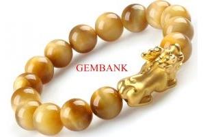 Lắc Tay Tỳ Hưu Bạc Mạ Vàng 24K Opal Vàng Cao Cấp