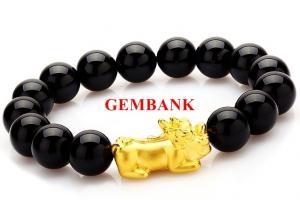 Vòng Tay Tỳ Hưu Bạc Mạ Vàng 24K Opal Đen Tự Nhiên
