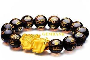 Vòng Tay Tỳ Hưu Bạc Mạ Vàng 24K Thạch Anh Khói Khắc Kinh Chữ Phạn Bình An