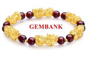 GemBank Vòng Tay 6 Tỳ Hưu Đá Hồng Thạch Lựu Garnet Tự Nhiên