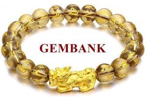 Vòng Tay Tỳ Hưu Bạc Mạ Vàng 24K Thạch Anh Khói Vàng Chữ Phạn