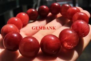Vòng Tay Thạch Anh Tóc Đỏ Tự Nhiên Size Lớn 15mm Cao Cấp - Lắc tay mệnh hỏa - Hỏa Sinh Thổ